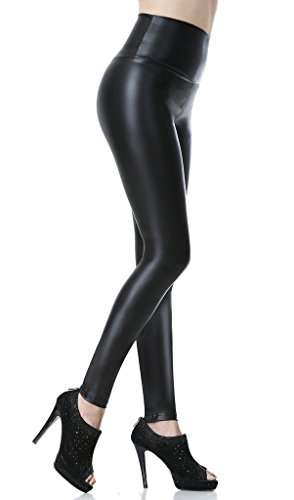 Everbellus Sexy Womens Faux Leather High Waisted Leggings (Black, M Fit Waist 26'-29'/ Hips 38')