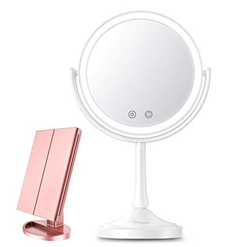 BESTOPE Makeup Vanity Mirror with Lights, 2X/3X/7XMagnification, Touch Screen,Adjustable Brighteness,Free Rotation,Dual Power Supply
