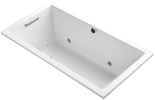 KOHLER 1168-GCW-0 Underscore 60-Inch x 32-Inch Drop-In BubbleMassage Air Bath with Bask Heated Surface, Chromatherapy, and Reversible Drain, White