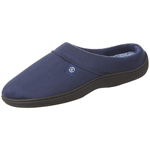 isotoner Men's Open Back Slipper with Memory Foam and Indoor/Outdoor Sole, Microsuede Navy Blue, 13-14