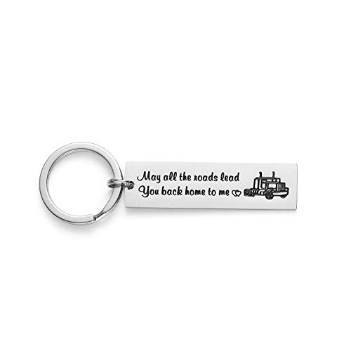 Truck Driver Gifts Key Chain May All The Roads Lead You Back Home to Me Keychain Couple Gifts for Him Long Distance Relationship Gift for Trucker