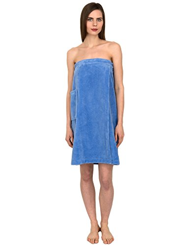 TowelSelections Women's Wrap, Shower & Bath, Water Absorbent Cotton Lined Fleece Medium/Large Blue Bonnet