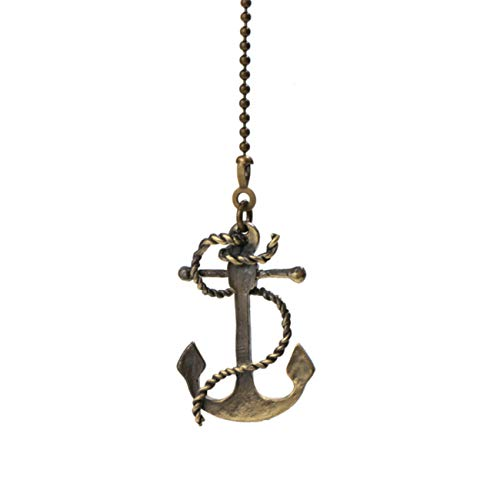 Ceiling Fan Pull Chain,Decorative Light Ornament 12 inches Anchor Pullchain fan pulls for Ceiling Lights Fans
