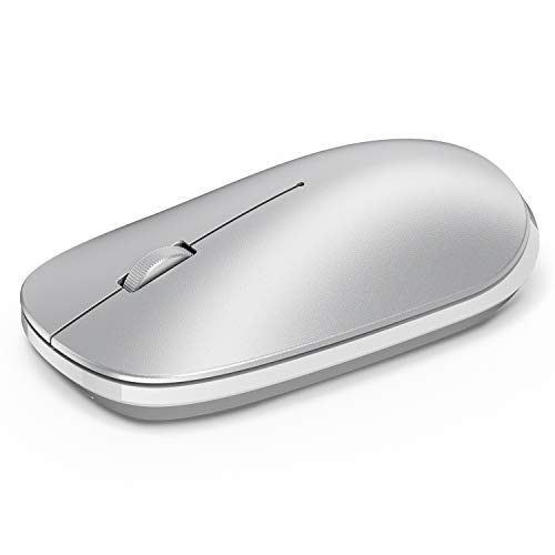OMOTON Bluetooth Mouse for iPad and Phone (iPadOS 13 / iOS 13 and Above), Ultra-Thin Wireless Mouse Compatible with Computer, Laptop, PC, Notebook, and Mac Series, Silver