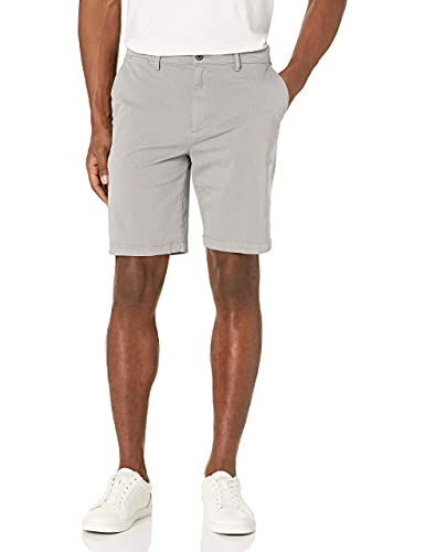 Amazon Brand - Goodthreads Men's Slim-Fit 9' Inseam Flat-Front Comfort Stretch Chino Shorts, Light Grey, 32