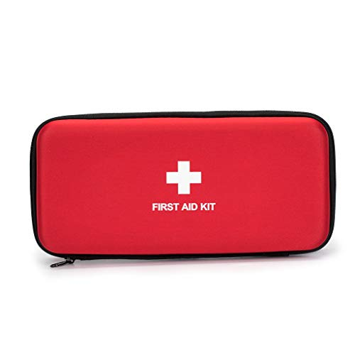 First Aid Hard Case Empty, Jipemtra First Aid Hard Shell Case First Aid EVA Hard Red Medical Bag for Home Health First Emergency Responder Camping Outdoors (10.4x4.7x2.4' Rectangle)