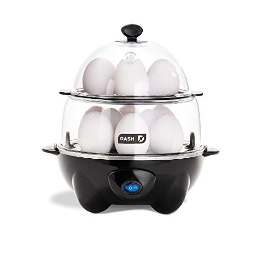 DASH Deluxe Rapid Egg Cooker Electric for Hard Boiled, Poached, Scrambled, Omelets, Steamed Vegetables, Seafood, Dumplings & More, 12 Capacity, with Auto Shut Off Feature, Black