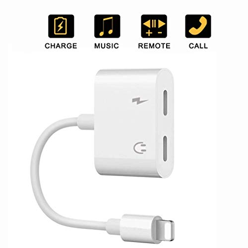 2-in-1 Dual Lighting Headphone Audio and Charge Adapter,Lighting Splitter Headphone Adapter, Compatible with iPhone 7/8 / X/XS/XR/XS MAX.(Support iOS 11, iOS 12 White)