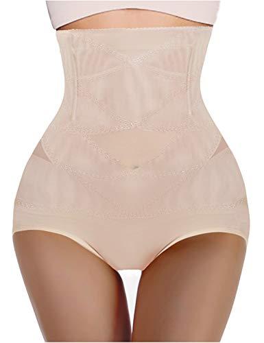 Nebility Women Butt Lifter Shapewear Hi-Waist Double Tummy Control Panty Waist Trainer Body Shaper (L, Beige)
