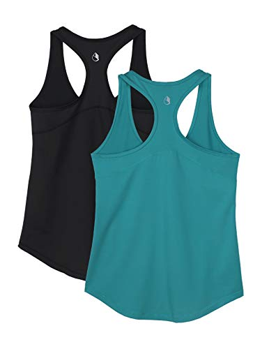 icyzone Workout Tank Tops for Women - Athletic Yoga Tops, Racerback Running Tank Top, Exercise Gym Shirts (M, Black/Peacock Green)