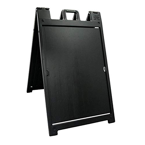 Plasticade - Signicade Deluxe - A-Frame Sidewalk Curb Sign with Quick-Change System - Portable Folding Double-Sided Display - Black