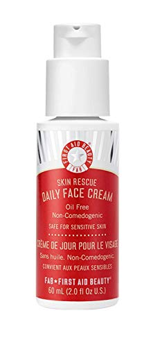 First Aid Beauty Skin Rescue Daily Face Cream: Lightweight Vegan Moisturizer to Soothe Sensitive Skin Made with White Tea for Supple Skin (2 oz)