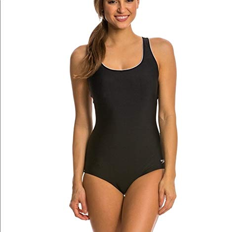 Speedo Womens Ultraback One Piece Swimsuit Black with White Piping (XX-Large)