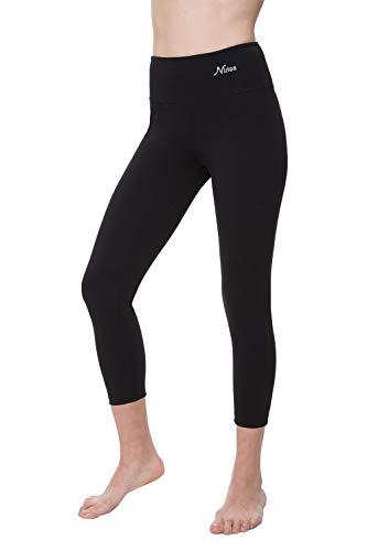 NIRLON Capri Leggings for Women 7/8 Length High Waist Workout Capri's Yoga Pants Regular & Plus Size Cotton Spandex (L, Black 22' Inseam)