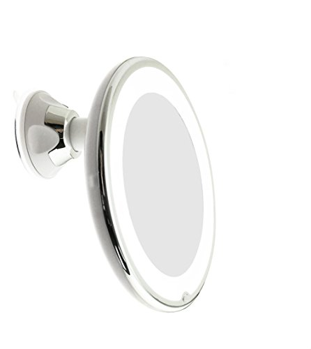 JiBen LED Lighted 10X Magnifying Makeup Mirror with Power Locking Suction Cup, Bright Diffused Light and 360 Degree Rotating Adjustable Arm, Portable Cordless Home and Travel Bathroom Vanity Mirror