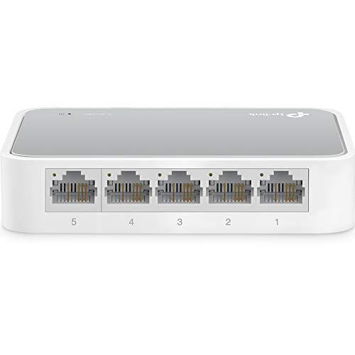 TP-Link 5 Port 10/100 Mbps Fast Ethernet Switch   Desktop Ethernet Splitter   Ethernet Hub   Plug & Play   Fanless Quiet   Desktop Design   Green Technology   Unmanaged (TL-SF1005D),White