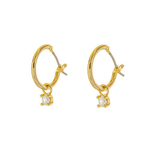 Columbus 14K Gold Dipped Huggie Hoop Earrings - Solitaire Charm Hug Earrings (Gold Solitaire Charm)