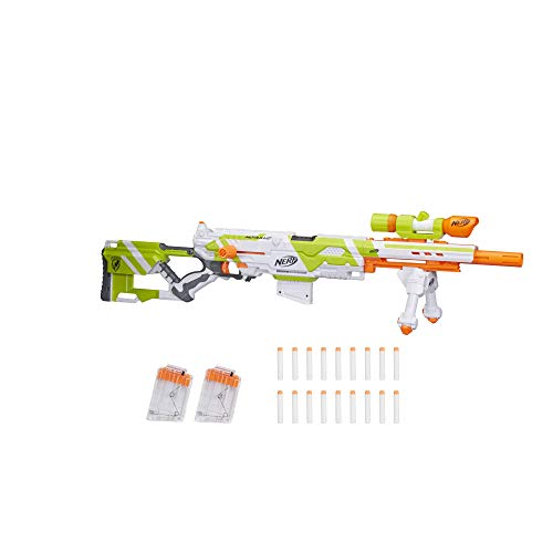 Longstrike Nerf Modulus Toy Blaster with Barrel Extension, Bipod, Scopes, 18 Modulus Elite Darts & 3 Six-Dart Clips (Amazon Exclusive)