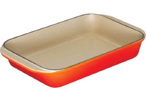Le Creuset Enameled Cast-Iron 8-by-11-3/4-Inch Rectangular Roaster, Flame
