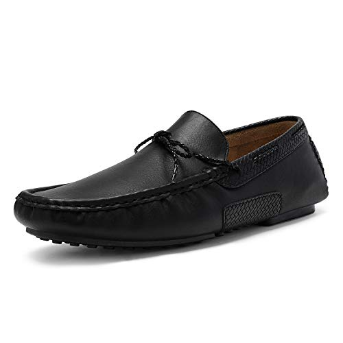Bruno Marc Men's Santoni-01 Black Penny Loafers Moccasins Boat Shoes Size 9 M US