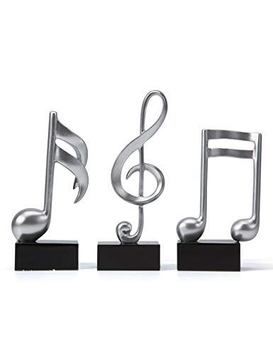 SEINHIJO 3pcs Music Decor Sculpture Statue Music Note Figurine for Home Piano Gifts Souvenirs Giftbox Resin Silver 19cmH