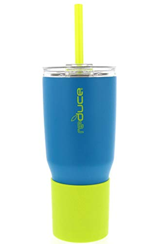Reduce Tumbler, 24oz – Reduce Cold-1 Tumbler With Lid and Straw – 24 Hours Cold – Stainless Steel, Sweat-Proof Body – Cupholder Friendly, Perfect for Water and Coffee – Aqua and Lime