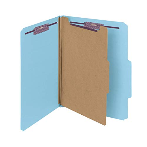 Smead Pressboard Classification File Folder with SafeSHIELD Fasteners, 1 Divider, 2' Expansion, Letter Size, Blue, 10 per Box (13730)