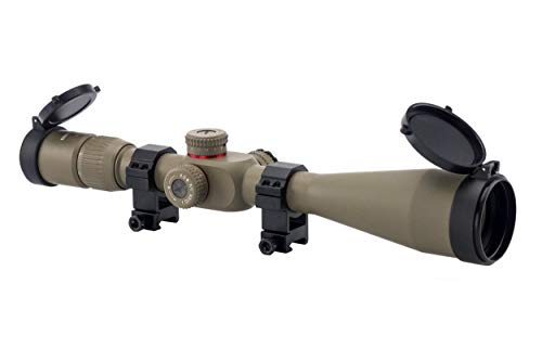 Monstrum Tactical 6-24x50 First Focal Plane (FFP) Rifle Scope with Illuminated Rangefinder Reticle and Adjustable Objective (Flat Dark Earth)