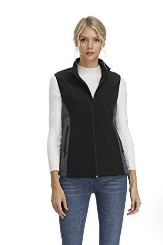 Women's Bonded Softshell Fleece Med Tech Vest Soft and Cozy Fleece lined Vests(Black,XL)