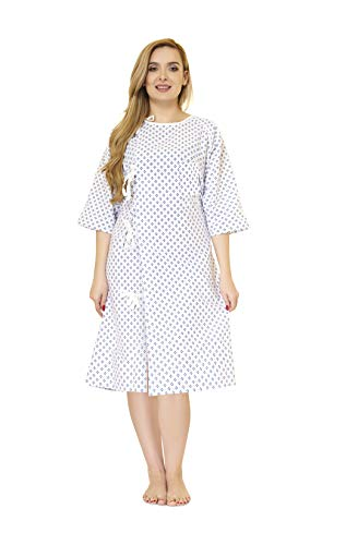 LUXCARE Comfortable Hospital Gown for Women and Men [4 Pack] ~ Unisex Patient Gowns Fits All Sizes up to 2XL, Easy-on Hospital Gown for Elderly, Hospice, Home Care, Labor Gowns