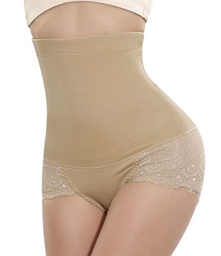 Nebility Women Butt Lifter Shapewear Seamless Waist Trainer Hi-Waist Tummy Control Body Shaper Panty Beige