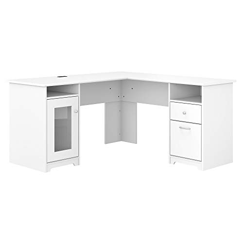 Bush Furniture Cabot 60W L Shaped Computer Desk, White
