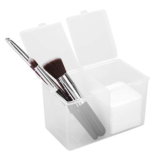 Filfeel Cotton Pad Holder, 2 Grids Cotton Pads Swabs Makeup Container Nail Polish Glitter Powder Organizer Storage Box for Gauze Cotton Ball Home Office Supplies (4.9 2.8 3.0 inch)