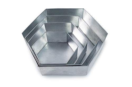 Set of 4 Tier Hexagon Multilayer Birthday/Wedding Anniversary Cake Tins/Cake Pans/Cake Moulds 6'.8'.10'.12' - all 3' Deep