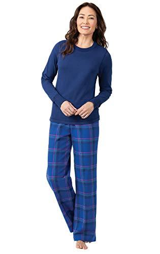 PajamaGram Womens Flannel Pajamas Soft - Ladies Flannel PJs, Indigo, L, 12-14