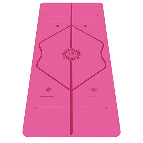 Liforme Gratitude Travel Yoga Mat- Patented Alignment System, Warrior-Like Grip, Non-Slip, Eco-Friendly and Biodegradable, Ultra-Lightweight, Sweat Resistant, Long, Wide and Thick (Pink)