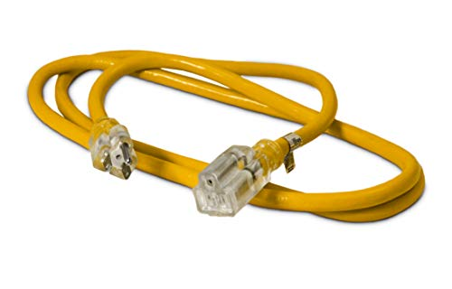6-ft 12/3 Heavy Duty Lighted SJTW Indoor/Outdoor Extension Cord by Watt's Wire - Short Yellow 6' 12-Gauge Grounded 15-Amp Three-Prong Power-Cord (6 foot 12-Awg)