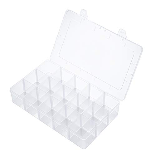 Snowkingdom Large 15 Girds Organizer Box with Removable Dividers/Clear Plastic Storage Container Adjustable Compartment for Beads Jewelry and Crafts Travel 10.86' Lx6.5 Wx2.2 H