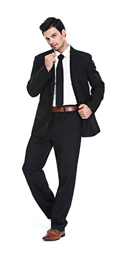U LOOK UGLY TODAY Men's Party Suit Solid Color Prom Suit for Themed Party Events Clubbing Jacket with Tie Pants Black-Medium