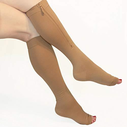 Compression Socks Zipper 20-30mmHg Knee-high, Open Toe. Size XL
