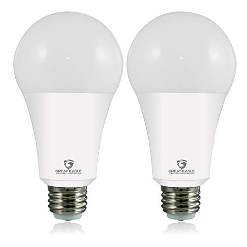 Great Eagle 50/100/150W Equivalent 3-Way A21 LED Light Bulb 4000K Cool White Color (2-Pack)