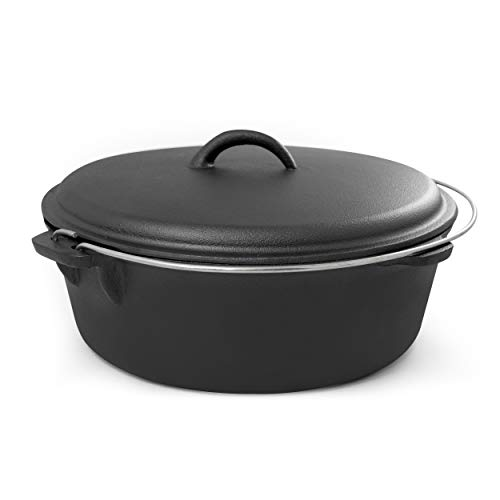 ExcelSteel with Handle, Perfect for Home Cooking and Outdoor Fireside 6 QT Cast Iron Camp Dutch Oven, Black