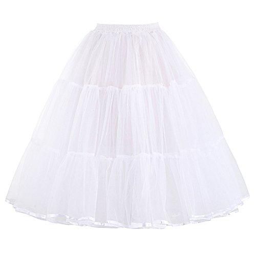 PAUL JONES 1950s Skirt Swing Petticoat Half Slips Crinoline Underskirt Petticoat White(M)