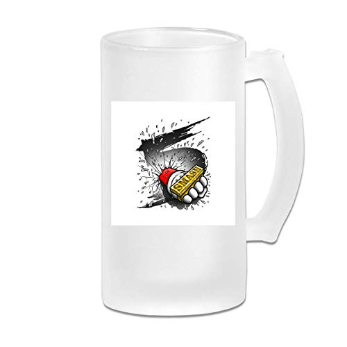 Printed 16oz Frosted Glass Beer Stein Mug Cup - Super Smash Bros 5 Knuckle Duster - Graphic Mug