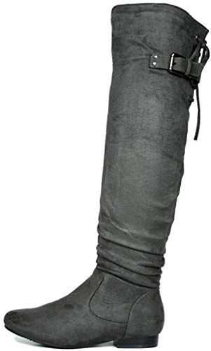 DREAM PAIRS Women's Colby Grey Over The Knee Pull On Boots - 9.5 M US