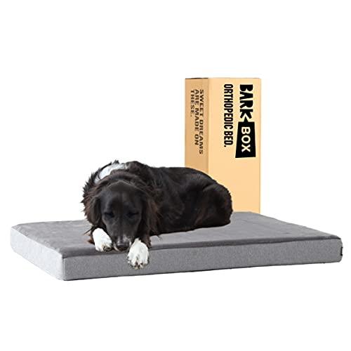 Barkbox Memory Foam Platform Dog Bed   Plush Mattress for Orthopedic Joint Relief (Large, Grey)