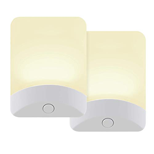 GE Color-Changing LED Night Light, 2 Pack, Plug-in, Dusk-to-Dawn, Home Décor, for Kids, Ideal for Bedroom, Bathroom, Nursery, Kitchen, Basement, White Base, 46722