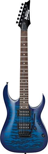 Ibanez GRGA 6 String Solid-Body Electric Guitar, Right, Transparent Blue Burst, Full (GRGA120QATBB)