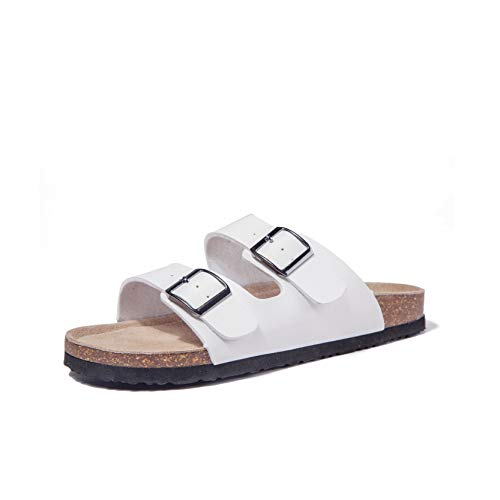 TF STAR Women Arizona 2-Strap Adjustable Buckle, Flat Casual Cork Slide Sandals,Slide Cork Footbed Sandals for Women/Ladies/Girls White