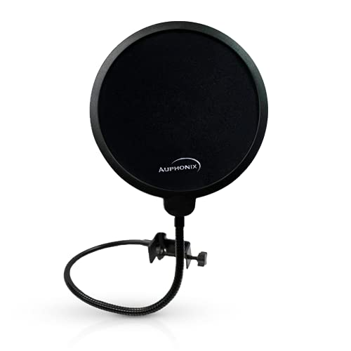 Auphonix Pop Filter Screen for Microphones - Gooseneck Clamps Compatible with Blue Yeti Microphone